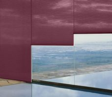Three Duette Fixe Mulberry Duo Tone Blinds 32 mm