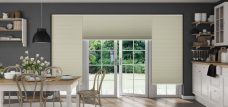 Three Duette Fixe Bone Full Tone Blinds 32 mm set in a kitchen
