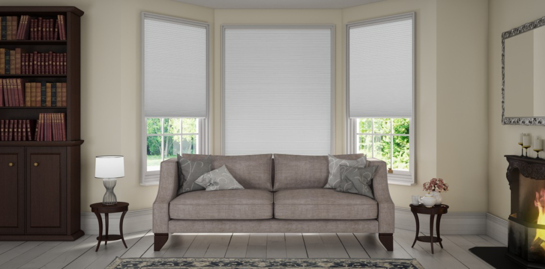 Hopsack White Duette Blinds in a lounge x 3