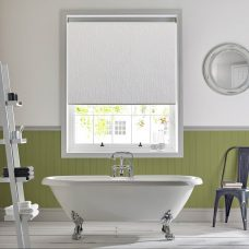 lupin-chalk-sheer-roller blind in a bathroom
