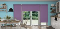 Three Rianna Duo Violet Blinds in a kitchen