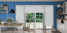 Three Rianna Duo Whisper Grey Senses Blinds in a kitchen