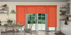 Three Palette Burnt Orange Senses Roller Blinds fitted in a kitchen