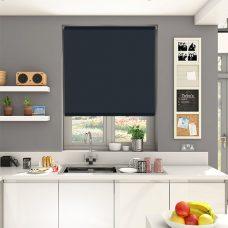 Spritzer Noir Roller Blind set in a kitchen