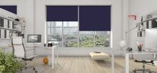 Three Spritzer Port Roller Blinds set in an office