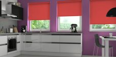 Three Spritzer Scarlet Senses Roller Blinds fitted in a kitchen