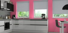 Three Spritzer Whisper Senses Roller Blinds fitted in a kitchen