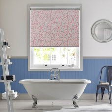 Squiggle Coral Senses Roller Blind fitted in a bathroom