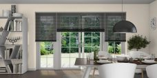 Venetian Blind 1858 Perforated Black Slats set in a dining room
