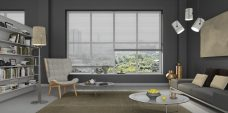 Venetian Blinds 7010 Perforated 25 mm set in a lounge