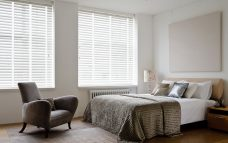 White Linen Basic Wood Blinds with tapes