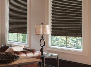 Almond Faux Wood Blinds in a lounge