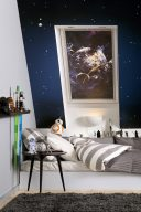 Velux 4711 Star Wars Death Star blinds in a bedroom