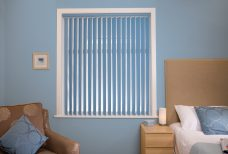 Atlantex Blue Vertical Blinds Eclipse-full in Bedroom