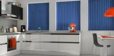 Atlantex Dark Blue Vertical Blinds in a kitchen