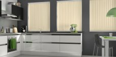 Atlantex Beige Vertical Blinds in a kitchen