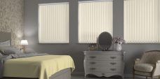 Atlantex ASC Cream Vertical Blinds in a bedroom