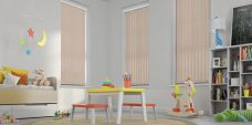 Three Atlantex ASC Dark Beige Vertical Blinds in a playroom