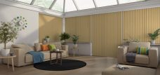 Atlantex ASC Muted Gold Vertical Blinds in a conservatory