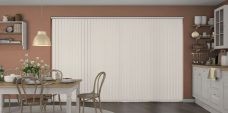 Atlantex Vanilla Vertical Blinds in a kitchen