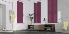 Atlantex Aubergine Vertical Blinds-Eclipse in a bathroom