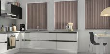 Atlantex Brown Vertical Blinds in a kitchen