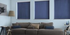 Atlantex Navy Vertical Blinds in a lounge