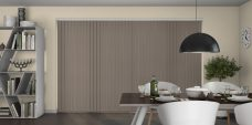 Atlantex Taupe Vertical Blinds in a dining room