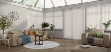 Nordic-asc-ice-Eclipse vertical blinds in a conservatoryNordic ASC Ice Vertical Blinds in a conservatory