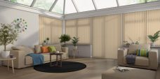 Nordic ASC Sunshine Vertical blinds in a conservatory