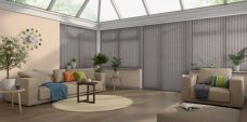 Nordic Truffle Vertical Blinds in a conservatory