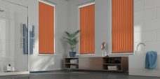 Palette Mandarin Vertical Blinds in a bathroom