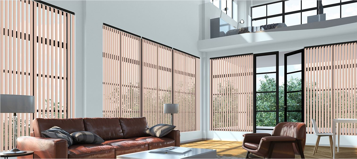 Palette Dusty Pink Vertical Blinds in a loft apartment