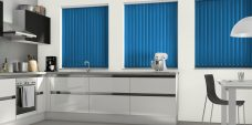 Palette Atlantic Blue Vertical Blinds in a kitchen