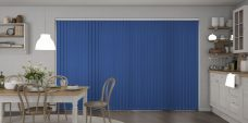 Palette Glacier Blue Vertical Blinds in a kitchen
