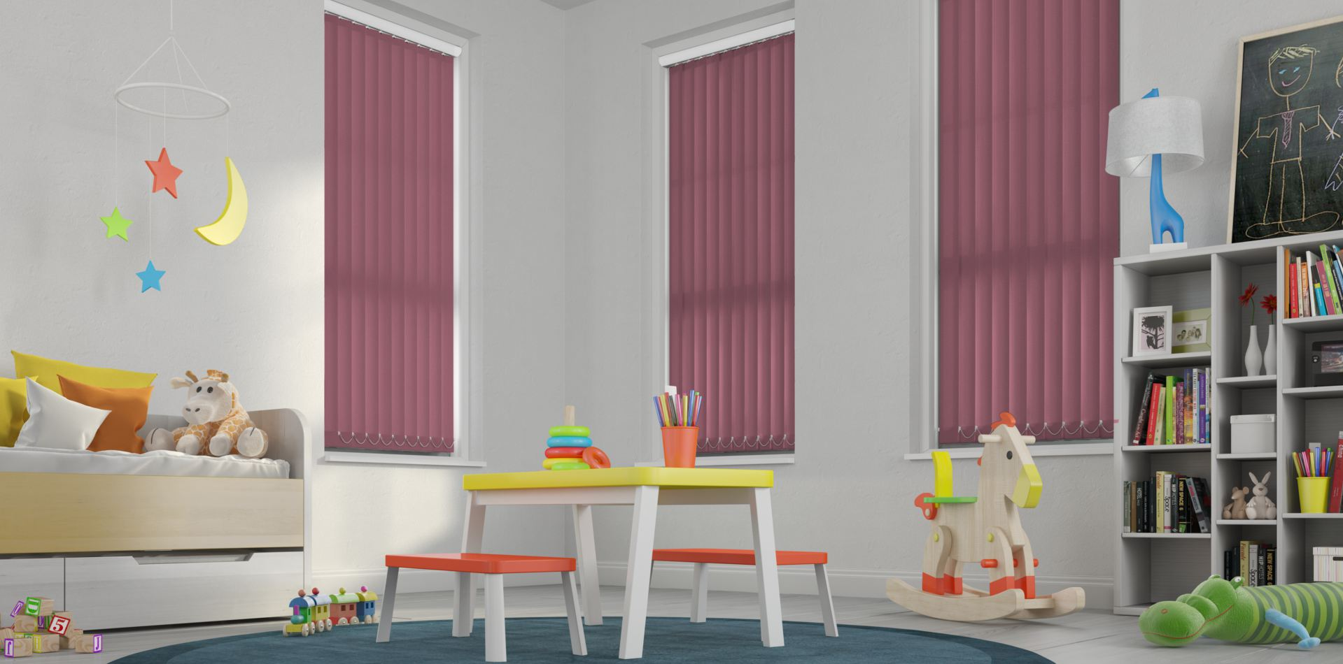 Palette Plum Vertical Blinds in a playroom