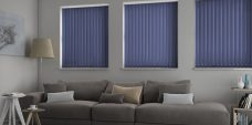 Palette Dark Blue Vertical Blinds in a lounge