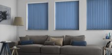Three Palette Denim Vertical Blinds in a lounge