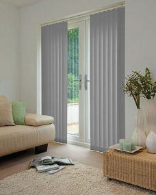 Palette Grey Vertical Blinds in a lounge