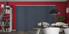 Palette Ink Blue Vertical Blinds in a dining room