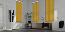 Palette Turmeric Vertical Blinds in a bathroom