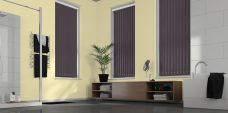 Palette Zinc Vertical Blinds in a bathroom