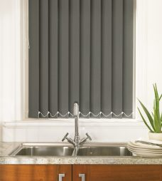 Palette Dark Olive Vertical Blind in a kitchen