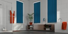 Banlight Duo Atlantic Blue Vertical Blinds in a bathroom