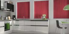 Banlight Duo Cerise Vertical Blinds in a kitchen