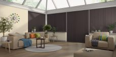 Banlight Duo Espresso Vertical blinds in a conservatory