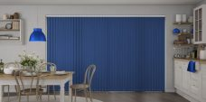 Banlight Duo Glacier Blue Vertical Blinds in a kitchen