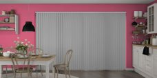 Banlight Duo Grey Vertical Blinds in a kitchen