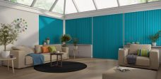 Banlight Duo Kingfisher Vertical Blinds in a conservatory