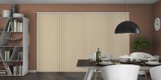 Banlight Duo Linen Vertical Blinds in a dining room